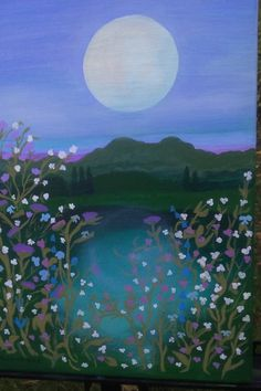 BLUE MOON MEADOW original impressionist painting by TheMarchOfTime