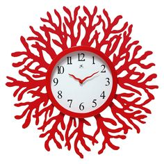 Red Coral Reef Modern Wall Clock Ocean Beach Theme - 22-inch Diameter Would love it in a different colour!