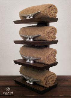 Nautical Hand Towel Rack 4 Towels by SolaroDesign on Etsy