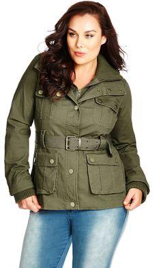 09bc832166b City Chic Rib Trim Utility Jacket - Women s Plus Size Fashion City Chic -  City Chic