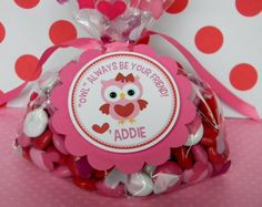 12 Valentine Treat Tags Pink Girl Owl by sweetheartpartyshop, $10.00