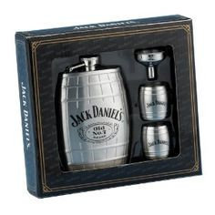 "This gift set includes a barrel-shaped hip flask, two stainless steel barrel shot glasses, and a flask funnel.  The main subject of the flask is the Jack Daniels Swing logo and Old No. 7 with Cartouche logo appearing in the center. Twist-off stainless steel captive top is permanently attached to the flask for loss prevention.  The shot glasses are decorated with the Jack Daniel's Swing logo.  The flask funnel is engraved with ""Jack Daniel's,"" and a stylish black gift"