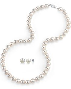 Freshwater Cultured Pearl Necklace and Earrings Set, 18 Inch Princess Length - AAAA Quality * Read more  at the image link.