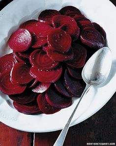 Here, beets are boiled and dressed with cider vinaigrette.