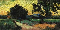 Landscape with the Chateau of Auvers at Sunset - Vincent van Gogh . Created in Auvers-sur-Oise in June, Located at Van Gogh Museum Vincent Van Gogh, Van Gogh Art, Art Van, Ocelot, Van Gogh Landscapes, Landscape Paintings, Dutch Artists, Great Artists, Artists