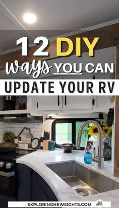 Update your RV with these incredible 12 Do It Yourself ideas. Some are easier than others, but all of them are guaranteed to make your RV unique for you! #rvupdates #rvinspiration Rv Interior Remodel, Camper Renovation, Diy Camper, Rv Campers, Rv Upgrades, Diy Rv, Camper Makeover, Remodeled Campers, Rv Life