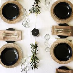 This is the black crockery that can be hired from Albany Event Hire - just an idea