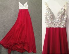 Charming Prom Dress,Red Crystal Prom Dress,Chiffon Evening Dresses,Long