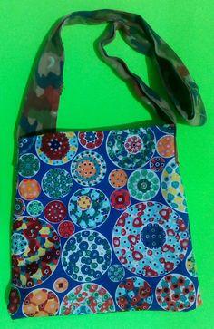 Kaleidoscope print tote/swedish camo strap by one of a kind larissamyrie.art washable, strong, upcycled, fun, #fashion #style #art #barbie #shoppingbag #totebag #shoulderbag #slowfashion