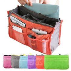 Bag in Bag Dual Insert Multi-function Handbag Travel Makeup Organizer Pockets   #Unbranded #CosmeticBags $6.35
