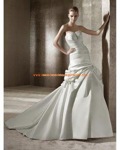 Luxuriöse wunderschöne Brautkleider aus Satin A-Linie Herzausschnitt mit Schleppe