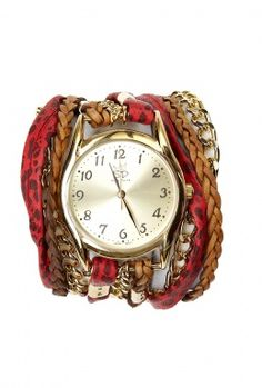Red Leopard Chain and Printed Leather Wrap Watch by Sara Des