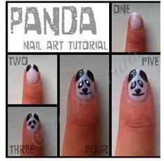 Pandas! Bear Design, Panda Bear, How To Do Nails, Cute Nails, Nail Designs, Nail Art, Hair, Pandas, Pretty Nails