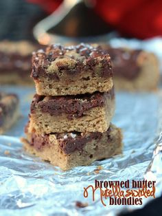 Browned Butter Nutella Swirled Blondies