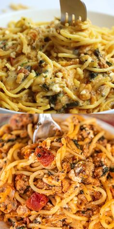Baked Pasta with Sausage & Spinach - seriously delicious! Can make ahead and fr. Baked Pasta with Italian Sausage Spaghetti, Italian Sausage Recipes, Recipes With Sausage, Spaghetti Recipes, Spaghetti Sauce, Recipes With Pasta, Pasta Bake Recipes, Spaghetti Tacos, Spaghetti Spinach
