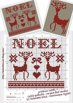 Noel Deer :: Free Cross-Stitch Chart