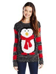Click here to buy:Derek Heart Juniors' Penguin with Jingle Bells Ugly Christmas Sweater
