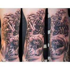 Black & grey scuba diver and mermaid tattoo on arm done by John Kautz