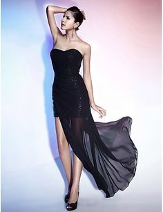 4f24d483351e   89.99  Sheath   Column Sweetheart Neckline Asymmetrical Chiffon    Sequined Little Black Dress Cocktail Party   Formal Evening Dress with Side  Draping by ...