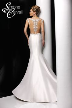 Simone Carvalli wedding dress - mikado trumpet silhouette gown with lace bodice featuring tank straps and lace applique illusion back.