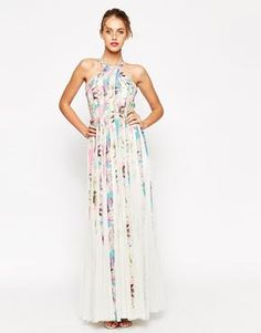 ASOS Mesh Fit And Flare Maxi Dress In Floral Print at asos.com #meshdress #women #covetme#floaty dress