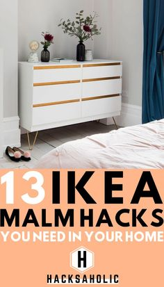 The Ikea MALM range is well loved and makes a great base for Ikea hacks. There are so many great ideas for Ikea Malm hacks that allow you to create amazing dressers. We have brought together the best Ikea Malm hacks in…Read Hacks Ikea, Ikea Furniture Hacks, Home Decor Furniture, Furniture Makeover, Bedroom Furniture, Furniture Design, Furniture Ideas, Ikea Hack Nightstand, Refurbished Furniture