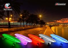 The Clear29 LT lighted longboard skateboard is a hot seller that looks great both day and night. This provide a high performance ride that experts and novices will appreciate, add LIGHTS and you've got a one-of-a-kind longboard! Made from clear polycarbonate for a super smooth ride and incredible light dispersement. Available at Fab Store outlets, Go Sport, Virgin Mega Store and FNAC Qatar. Visit www.fab-store.com to buy online.