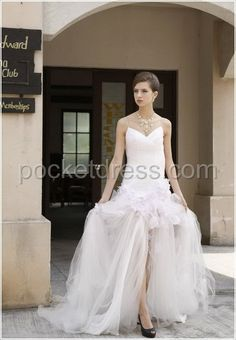 Sweetheart Tulle Gown with Floral Details at Dropped Waist