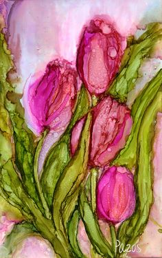 Ink Drawings Maria Pazos, Artist - Features a varety of artwork done in Alcohol Inks as well as other mediums Alcohol Ink Glass, Alcohol Ink Crafts, Alcohol Ink Painting, Watercolor Flowers, Watercolor Paintings, Watercolours, Silk Painting, Whimsical Art, Flower Art