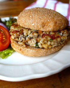 It's easy to make your own delicious veggie burgers! After you've tried these mushroom barley burgers, you'll say goodbye to frozen, processed patties. These get wonderful flavor from sautéed mushrooms, sage, and mozzarella cheese. #burgers #dinners #sandwiches #mushrooms #barley