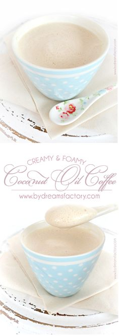 Blended ... not stirred Creamy & Foamy Coconut Oil Coffee - www.bydreamsfactory.com Healthy, warm, comforting, and delicious! Easy peasy for those wanting a clean eating latte!