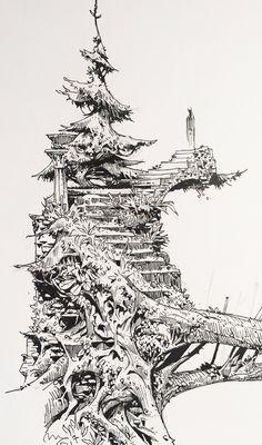 Fantasy Landscape, Fantasy Art, Ink Illustrations, Illustration Art, Ink Pen Drawings, Landscape Drawings, Urban Sketching, Pen Art, Anime Scenery