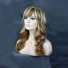 Kanekalon Synthetic Natural Long Wavy Wig with Side Bang Women's Fake Hair for Party Cosplay-Golden