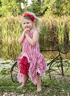 PP Spring 2012 Red Fairytale Picnic Bustle Dress 2T to 4 years - Children's Fourth of July Clothing - Cassie's Closet