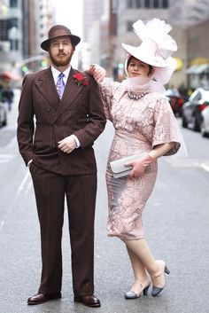 Thanks for capturing Dave & me at the #EasterParade, #Quistyle! Hat by #gretchenfenston. Dress acquired at @anthropologie.