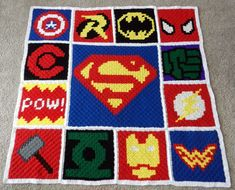 Crochet Iphone Superhero Crochet Blanket Pattern - Corner to Corner Superhero Crochet Pattern - Crochet Chart, Crochet Blanket Patterns, Baby Blanket Crochet, Crochet Baby, Cross Stitch Patterns, Crochet Beanie, Crochet Blankets, Pixel Crochet Blanket, Crochet Bunting