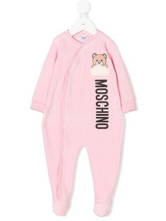 c2c3f4f3be7e1 Moschino Kids Teddy Logo Print Velour Pajamas - Farfetch