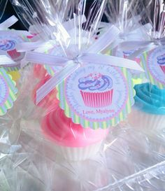 10 CUPCAKE SOAPS with Tags & Ribbons  by favorsbyangelique on Etsy, $24.50