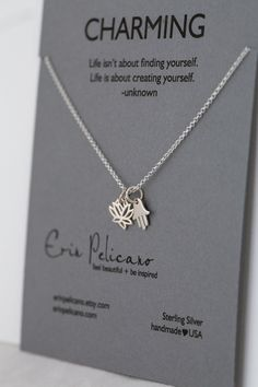 PEACE and PROTECTION Charm Necklace / Hamsa and Lotus / Sterling Silver www.erinpelicano.etsy.com