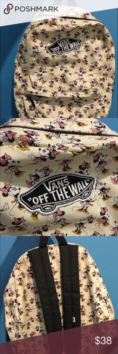 Vans Backpack This is a limited edition Vans off the wall backpack! Redesigned with a signature Disney's original Minnie Mouse design, you are bound to get compliments! For all ages, this backpack has a lovely pattern that reflects a variety of facial expressions of Minnie Mouse. Vans Bags Backpacks