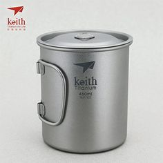 Keith Titanium Single-Wall Mug with Folding Handle and Lid - 15.2 fl oz ** Click image for more details.