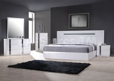 Palermo White Lacquer Modern 5Pc Bedroom Set by J&M