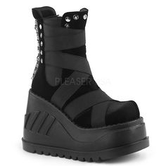 "Huge Demonia 4.75/"" Wedge Platform Black Vegan Mega Strap Calf Boots Goth 6-11"