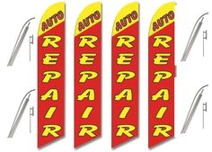 Windless Swooper Flag Kit 4 Pack AUTO REPAIR Alternating Red/Yellow #EHTFlags
