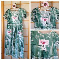 """★★★★★ """"I like the dress. It fits well and feels like I'm wearing a piece of art. Thanks"""" Anita A. http://etsy.me/2z05i4g #etsy #clothing #women #dress #blue #birthday #green #christmas #plushawaiiandress #hawaiiandress PetrinaBlakely.etsy.com"""