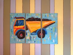 Large 3 piece dump truck painting on canvas $140 free shipping