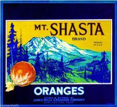 Hamilton City Mt. Mount Shasta Orange Citrus Fruit Crate Label Art Print #MtShasta #CrateLabelArtPrint