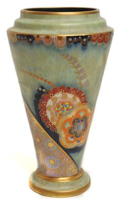 Art Deco Carlton Ware tapered vase with floral and enamelled decoration on green ground, printed marks to base, pattern number 3786, 21cm hi...