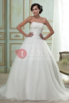 Fabulous Strapless Ball Gown Embroidery Sweeping Wedding Dress, Dress