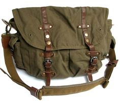Vintage Green Canvas Messenger Bag #serbags #messengerbag #canvasleatherbag
